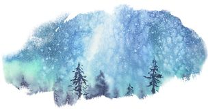 Milky Way stars over the forest. Watercolor stains stock illustration