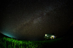 Milky way and stars over paddy field royalty free stock images