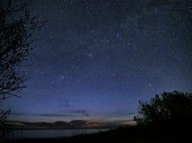 Milky way stars perseus constellation on night sky Stock Photo