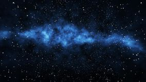 Milky-Way Stars and Planets. A multilayered 3d rendering of a milky-way nebula full of far away stars and planets in the gigantic universe expanding as a result Stock Image