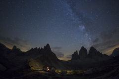 Milky way and stars to National Park Tre Cime di Lavaredo. Dolom Stock Images