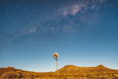 Milky Way stars with windmill royalty free stock images