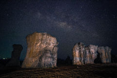 Milky way with Stonehenge of Thailand. (Mor Hin khao, Chaiyaphum, Thailand Royalty Free Stock Photos