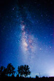 Milky way in summer night. Milky way with swirly bokeh stock images