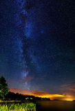 Milky way in Sweden. The beautiful Image shows the Milky way over the lake Bolmen Stock Image