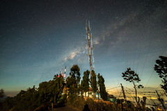 Milky way at telecommunication tower Royalty Free Stock Image