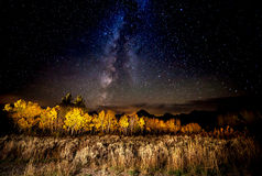 Milky Way,Tetons and Aspens in Fall Stock Photo