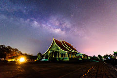 Milky way at the Thai church. / milky way on the sky royalty free stock photo