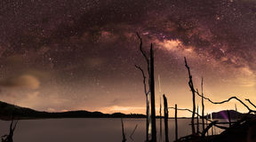 Milky way thailand ,milky way galaxy.Long exposure photograph with grain Stock Photo