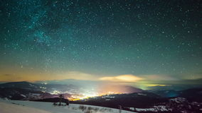 Milky way time lapse in Carpathian Mountains stock video