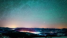 Milky way time lapse in Carpathian Mountains. Winter time lapse in Carpatian mountains, 4k timelapse, downsized to HD, photographed on Nikon D800 camera stock video