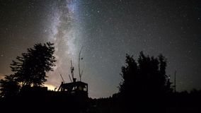 Milky way time-lapse of day-to-night transition stock footage