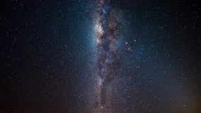 Milky Way time lapse and rotating starry sky, center close up, galaxy core details, bright nebula, night sky in Namibia.  stock video footage