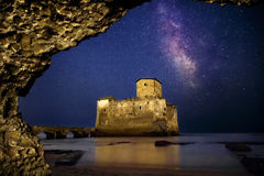 Milky Way Torre Astura. The Milky Way and Torre Astura, Italy. An ancient fortified tower that overlooks the sea, reduced to a ruin and connected to the beach by Stock Photography