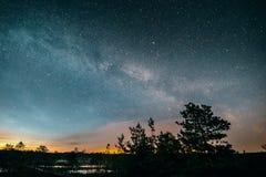 Milky way on Viru Raba swamp. Estonia Royalty Free Stock Photos