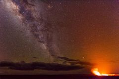 Milky Way in Volcano National Park Stock Photo