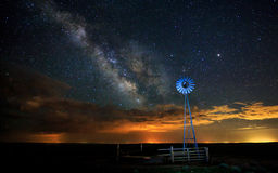 Milky Way with Windmill. Amazing night sky with windmill and Milky Way in the background Royalty Free Stock Photo