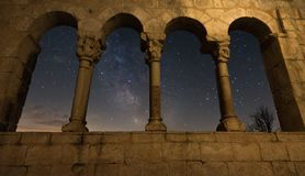 Milky Way through the window stock photography