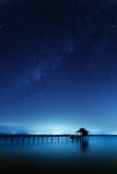 Milky Way: Wooden Cabin and Bridge Stock Photo