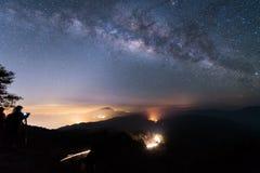Milky way and Zodiac light on night sky above Doi Inthanon National park. Chiang mai, Thailand.  Stock Photos