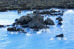Milky white and blue water of the geothermal bath Blue Lagoon in Stock Images