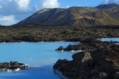 Milky white and blue water of the geothermal bath Blue Lagoon in Royalty Free Stock Images