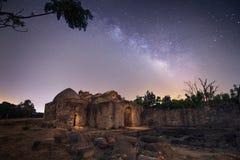 Milkyway über verlassener Visigoth-Einsiedlerei in Cadiz, Andalusien, Stockbild