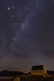 Milkyway above Church of Good Shepherd. Lake Tekapo, New Zealand Stock Photography