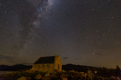 Milkyway above Church of Good Shepherd Royalty Free Stock Images