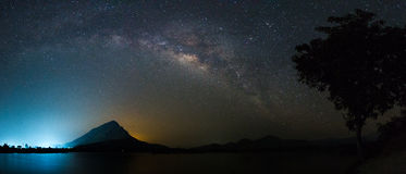 Milkyway above reservoir. City light behind the mountain Royalty Free Stock Image