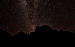 Milkyway atrás de Mont Kenya Imagem de Stock