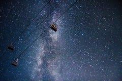 Milkyway au-dessus de télésiège Images libres de droits