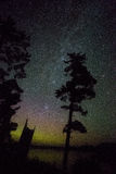 Milkyway and aurora. Milky way and northern light show in the night sky at the same time Royalty Free Stock Images
