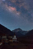 Milkyway avec la montagne Everest au camp de base d'Everest Photographie stock libre de droits