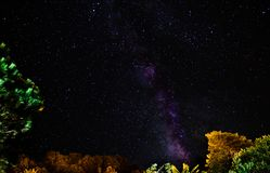 Milkyway in Azores sky. Amazing milkyway in Sao Miguel island in Azores, Portugal Royalty Free Stock Photo