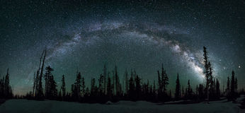 Milkyway galaxy, Dixie National Forest Utah. Seven image panoramic of the milkyway over Utah's Dixie National Forest Royalty Free Stock Images
