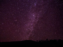 Milkyway galaxy and stars above the dark hill in Chiangmai, Thai Stock Images
