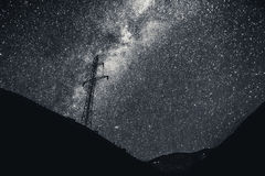 Milkyway i Powerline Zdjęcia Stock