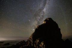 Milkyway In kaikoura Coastline. Milkyway kaikoura coastline rock moon moonbow stars sky astrophotography night nightsky stock photography