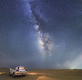 Milkyway. Landcruiser car with milkyway Royalty Free Stock Photo