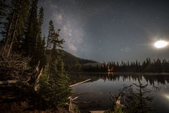 Milkyway with the Moon. Over a lake near Bend Royalty Free Stock Photos