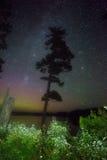 Milkyway och morgonrodnad Arkivfoto
