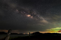 Milkyway over the Dam. At night Royalty Free Stock Photo