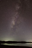 Milkyway over the lake. Without cloud Stock Photo