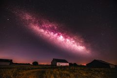 Milkyway. The milkyway over a Missouri farm with barns royalty free stock photography