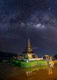 Milkyway over Pura Ulun Danu temple Royalty Free Stock Photography