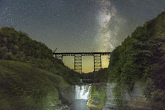 Milkyway Over The Railroad Trestle Royalty Free Stock Image