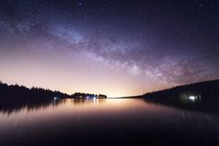 Milkyway over Servières lake. stock images