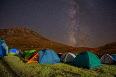 Milkyway. Rising abbove a camping site Royalty Free Stock Photos