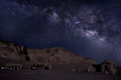 Milkyway in Wadi El Hitan Egypt stock image